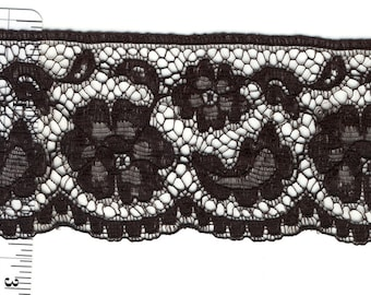 Black lace trim 2.25 inches wide 13yds (3991)