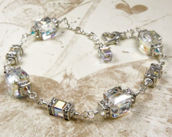 Wedding Crystal Bracelet, Clear Swarovski Cube, Rhinestones, Sterling Silver, Bridal Bracelet, Bride Formal Wedding Jewelry, Handmade Custom