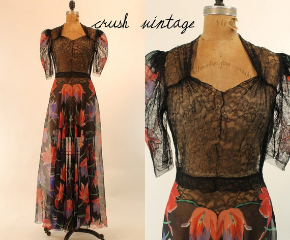 30's Vintage Dress XS-S /  French Tulip Sheer Lace Gown Dress