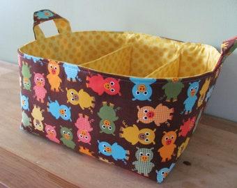 """Fabric Diaper Caddy - Storage Container Basket - 11""""x11"""" Organizer Bin - Tote Bag - Nursery Storage - Baby Gift - UZ Pigs in Bermuda Cotton"""