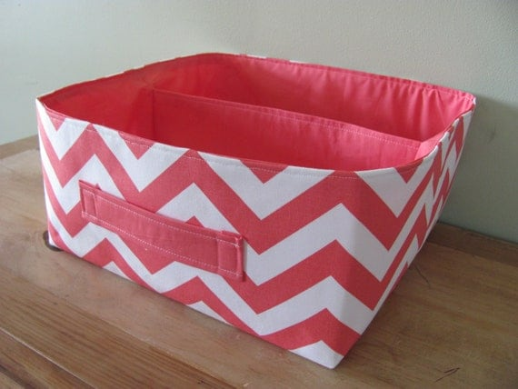 """NEW Fabric Storage Basket - Fabric organizer storage bin basket tote - 12"""" x 12"""" - Perfect for your home - Coral  ZigZag"""