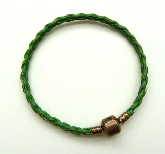 Green Leather Bracelet  Fit for European  Beads Brass Clasp   Ships from USA  Immediately. (Br01)
