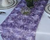 Satin Ribbon Rosette Wedding Table Runner - Lilac