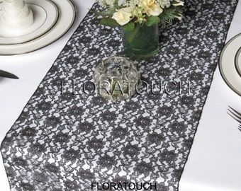 Black Lace Wedding Table Runner