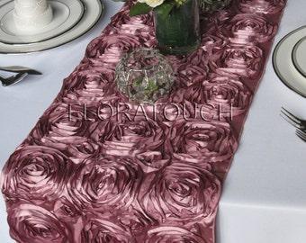 Satin Ribbon Rosette Wedding Table Runner - Dusty Rose