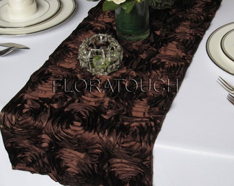 Brown Satin Rosette Wedding Table Runner
