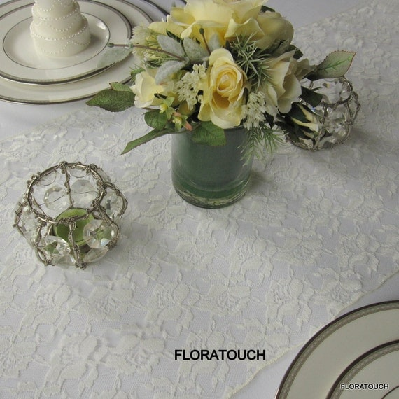 white runner Table overhang Rose Ivory available   table length Lace also Wedding Runner