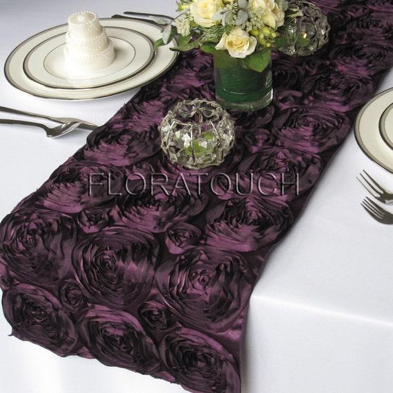 Dark Purple Satin Ribbon Rosette Wedding Table Runner