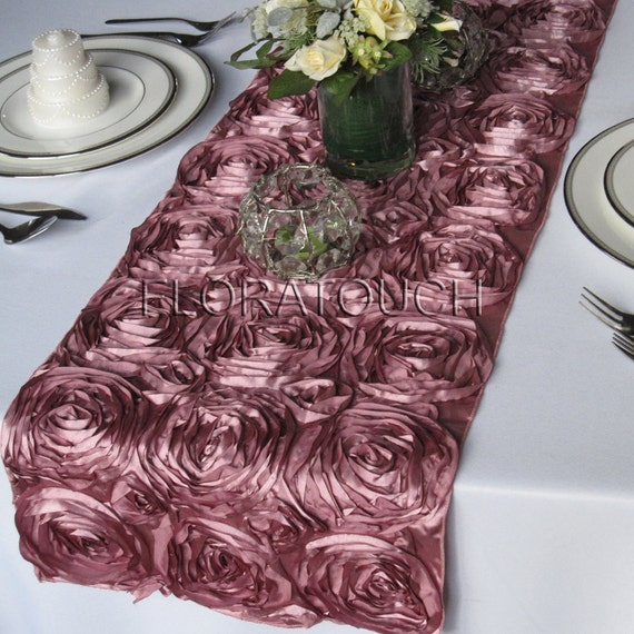 Satin Ribbon Rosette Wedding Table Runner - Dusty Rose