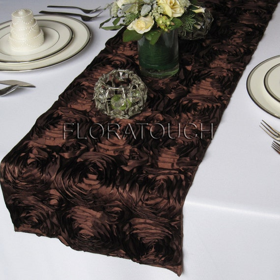 Satin Rosette Wedding Table Runner - Brown