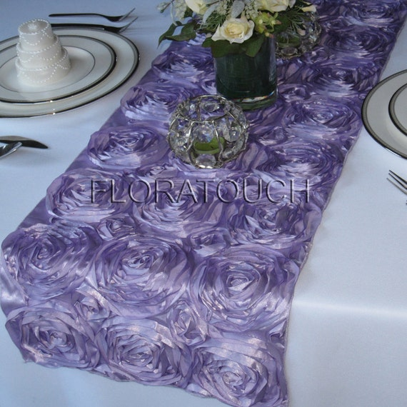 Satin ribbon rosette wedding table runner lilac by floratouch for 12 foot table runner