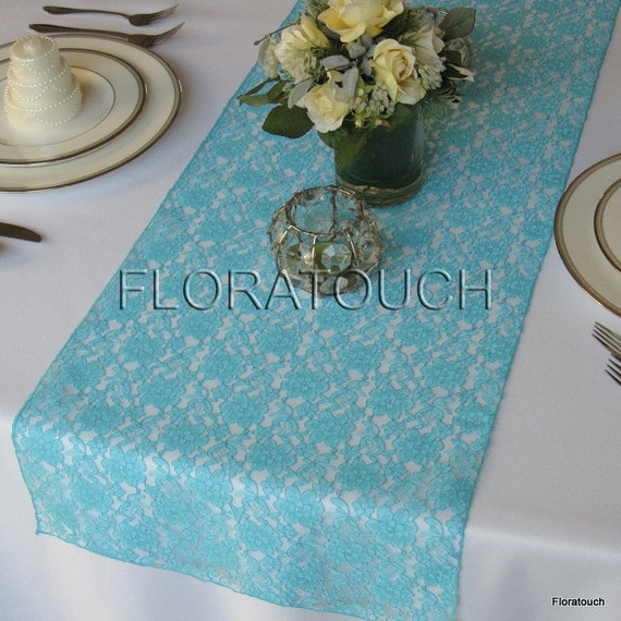 Runner table overhang Etsy runner Wedding Tiffany on Lace by  floratouch blue Table