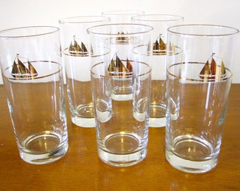 Mid Century Sailboat Glasses