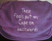 Embroidered Bib for Baby-Backwards Cape- PURPLE