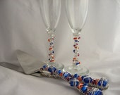 Glass Beaded Cake Knife and Server and matching flutes Customize Your Color