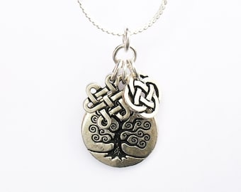 Celtic Tree of Life Necklace - Celtic Tree of Life Charm, Celtic Eternity Knot Charm and Celtic Round Knot Charm - on Sterling Silver Chain