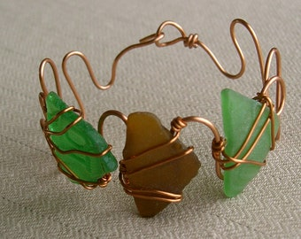 Green and Brown Sea Glass Bracelet Wire Wrapped with Copper Wire Chesapeake Bay Eastern Shore Maryland Beach Glass Adjustable