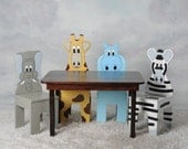 iChart Stained Rectangle Kids Table and Chair Set with 4 Animals