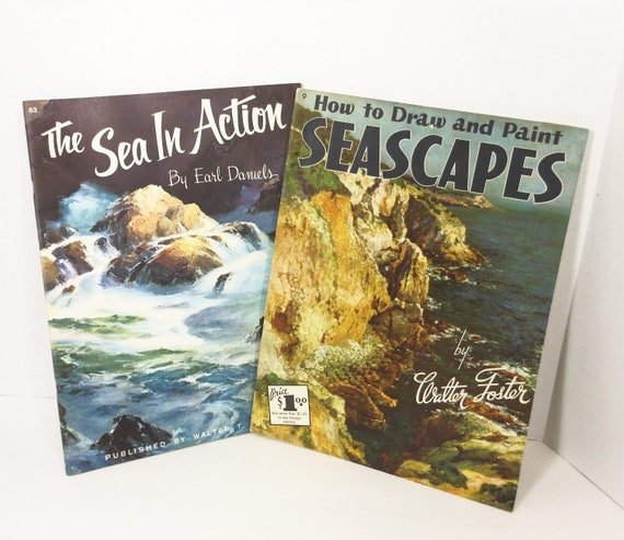 Vintage Walter Foster Art Books Sea Seascapes Ocean Boats Painting Illustrated Set PeachyChicBoutique on Etsy