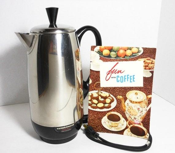 Vintage Coffee Pot Electric Automatic Percolator Mid Century Kitchen Farberware Recipe Book PeachyChicBoutique on Etsy