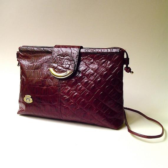 80s vintage Etienne Aigner Crocodile Embossed Burgundy Leather Purse