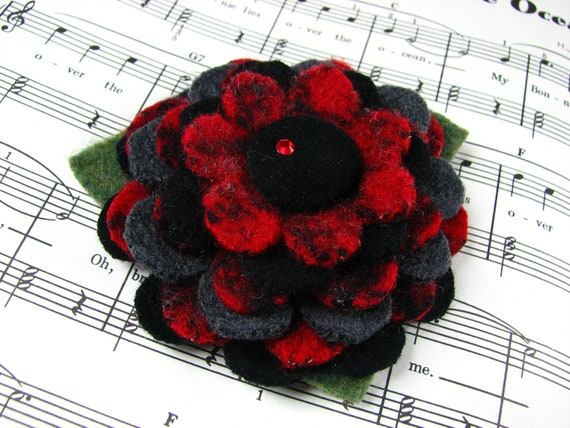 RESERVED for Deborah - My Plaid Collection - HANDCUT Felted Wool Flower Brooch Pin in Red Black Gray with Velvet Button