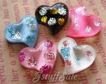 5 pieces flatback Heart cabochons