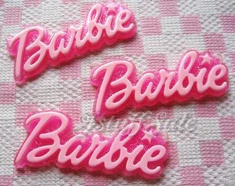 3 pcs Large glitter background Barbie logo cabochons pendants (Light pink/Pink)