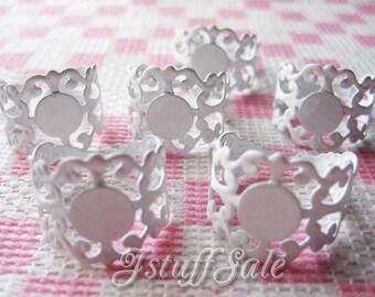 8 pcs - Glue On Pad Adjustable Rings (White)