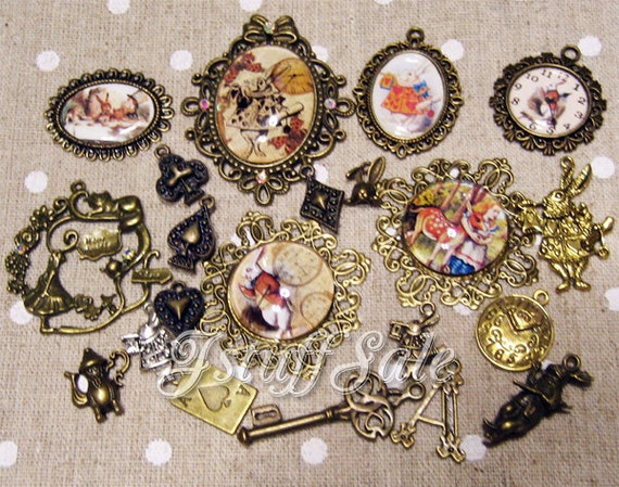 Alice in Wonderland theme pendant charms 21 pieces
