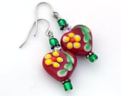 Matte Red Lampwork Hearts, Green Glass Beads and Clear Crystal Shortie Earrings / Made for Sensitive Ears