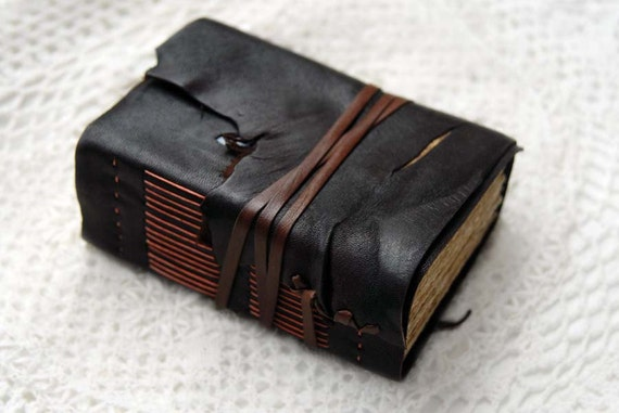 The Seeker - Thick Dark Brown Leather Travel Journal with Aged Paper, Fabric Patches & Vintage French Stamps