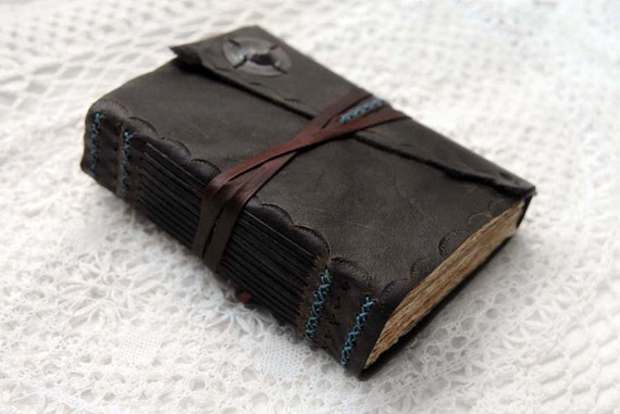 Words in the Wings - Dark Brown Embossed Leather Journal with Tea Stained Pages & Vintage Ink Stamps