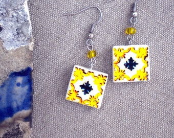 Portugal  Antique Tile Replica Earrings, Yellow, Waterproof and Reversible 406