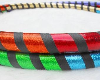 On SALE  Custom Travel Hula Hoop 'Night and Day Rainbow Warrior' - Made YOUR Way - UV Reactive / GLoWS in Blacklight