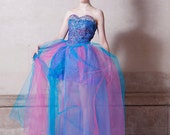 Lilac And Blue Corset & Ruched Skirt