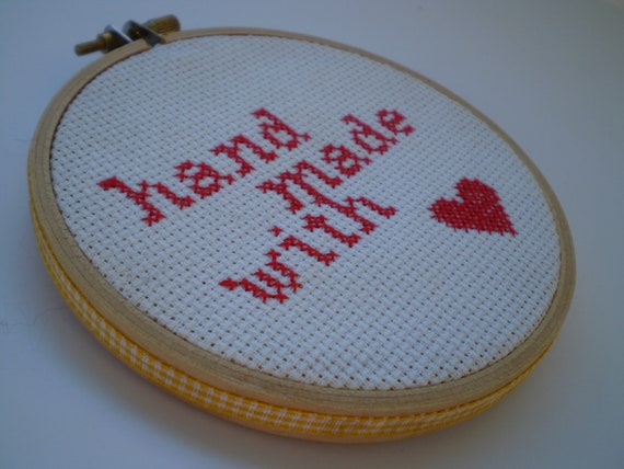 Embroidery Hoop - Cross stitch - Home Decor - Wall Hanging - Hand Made with Love - Free Shipping Worldwide