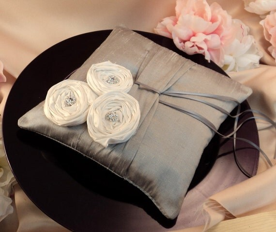 Dupioni Silk Flower Trio Ring Pillow with Rhinestone Accents...Shown in Silver/White ..50 Plus Colors Available