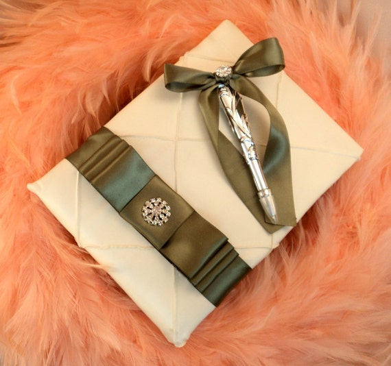 Pintuck Taffeta Diamonds Wedding Guestbook and Pen Set with Rhinestone Button.shown in ivory/old willow green..