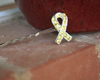 H73 Yellow RIBBON Rhinestone SUPPORT Our TROOPS Upcycled Hair Pin