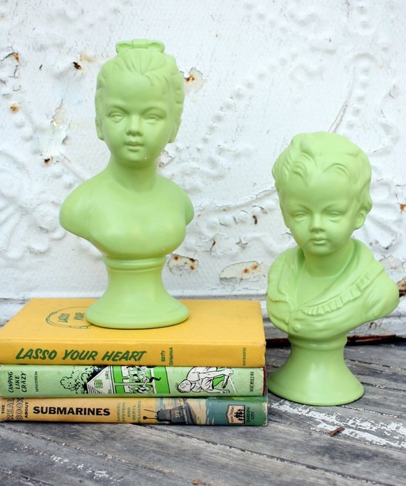 Vintage Green Napco Ware Boy and Girl Busts Brady Bunch Chic
