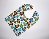 Zoo Monkeys on Cream Reversible Chenille  Bib for Baby or Toddler