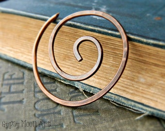 Copper Shawl Pin.  Spiral Copper Shawl Pin Boho Brooch