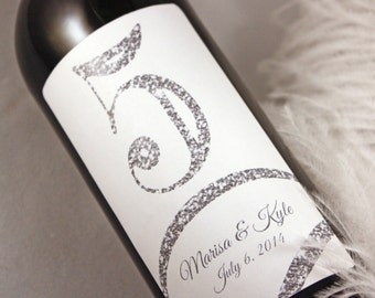 Table Number Wine Label....Faux Glitter