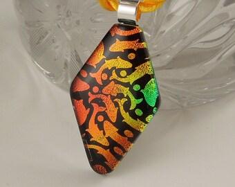 Cute Necklace - Diamond Necklace - Diamond Pendant - Dichroic Fused Glass Pendant - Cute Pendant X1561