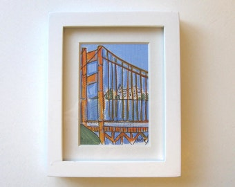 Golden Gate Bridge, Acrylic Miniature Painting, Original Art, gift idea