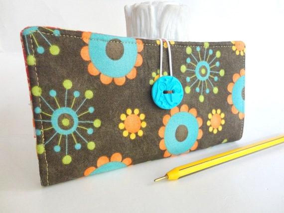 Handmade CHECKBOOK COVER - Dark Chocolate Brown Aqua Orange Fabric Wallet - Mid Century Modern