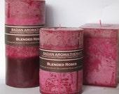 Rose & Tuberose Pillar Candle 3x4 Deep Red Magenta Floral