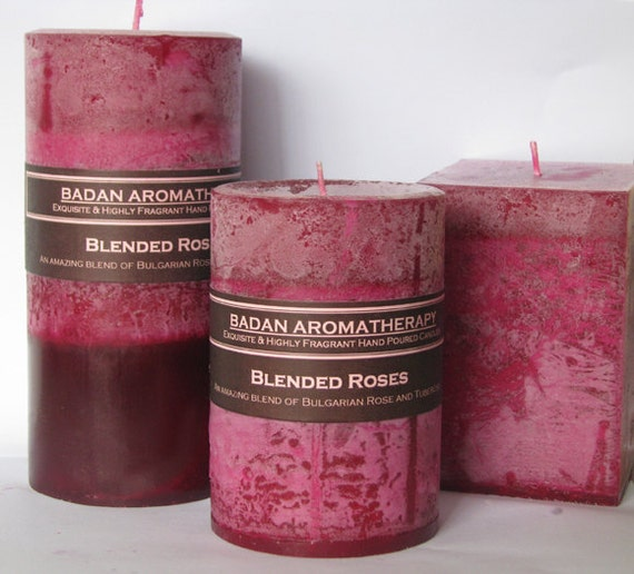 Rose & Tuberose Pillar Candle 3x4 Deep Red Magenta Floral