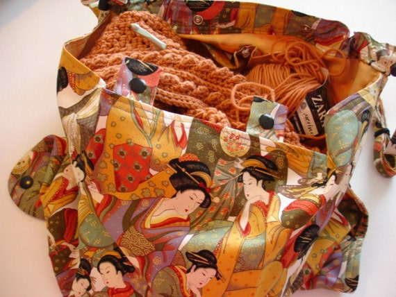 KNITTING BAG APRON - Momoyama Geisha Collage Fabric